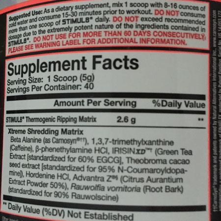 Stimul 8 Finaflex HCl Pre Workout - Supplement Facts