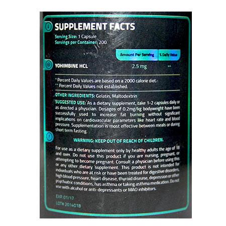 Yohimbine HCl 2,5mg USA SUPPLEMENTS LLC Facts