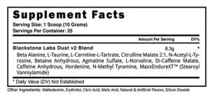 Dust V2 Pre Workout Booster von Blackstone Labs Inhaltsstoffe