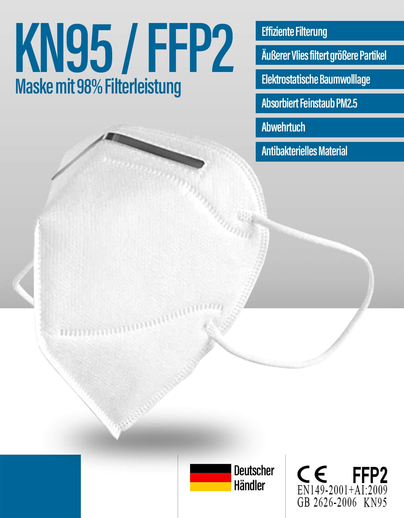FFP2 Maske KN95 Corona Atemschutzmaske kaufen | Fatburners.at