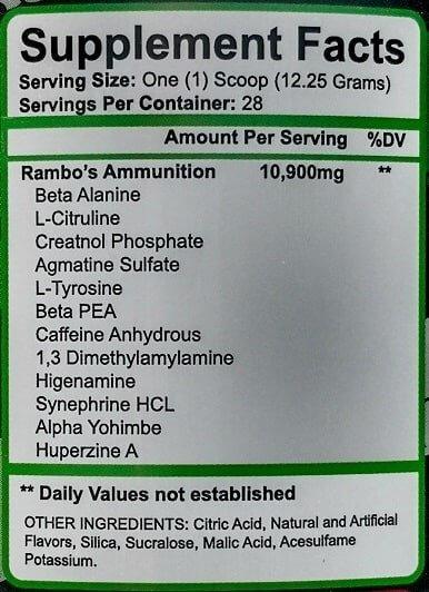 Freedom Pharma Rambo 110 mg DMAA Inhaltsstoffe