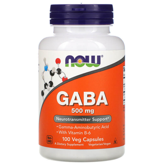 NOW Foods Gaba 500 mg 100 Veg Caps