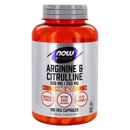 NOW Foods L-Arginin & L-Citrullin 500 mg / 250 mg 120 Veg Caps