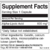 Swanson Alpha Lipoic Acid 600 mg Inhaltsstoffe Facts