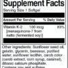 Swanson K-2 100 mcg Inhaltsstoffe Facts