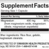 Swanson Triple Magnesium Complex 400 mg Inhaltsstoffe Facts