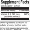 Swanson Vitamin D3 5000 IU Inhaltsstoffe Facts